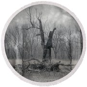 Visitor In The Woods Round Beach Towel