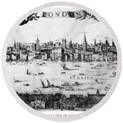 Visscher's View Of London Round Beach Towel
