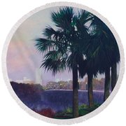 Vista Dusk Round Beach Towel by Blue Sky