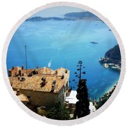 Vista From Eze Round Beach Towel by Lainie Wrightson