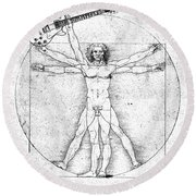 Vitruvian Guitar Man Bw Round Beach Towel