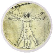 Vitruvian Guitar Man Round Beach Towel