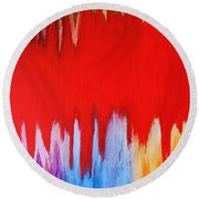 Round Beach Towel featuring the painting Voice by Michael Cross