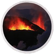 Round Beach Towel featuring the photograph Volcanic Eruptions by Gunnar Orn Arnason