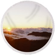 Volcanic Landscape Covered With Clouds Round Beach Towel