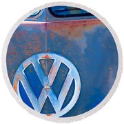 Volkswagen Vw Bus Emblem Round Beach Towel