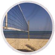 Vollyball Net On The Beach Round Beach Towel