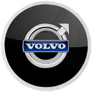 Volvo - 3d Badge On Black Round Beach Towel by Serge Averbukh