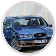 Round Beach Towel featuring the painting Volvo by Anna Ruzsan