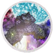 Round Beach Towel featuring the digital art Voyage by Matt Lindley