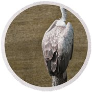 Vulture On Guard Round Beach Towel