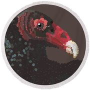 Vulture Pixel Pointillized Round Beach Towel