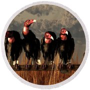 Vultures On A Fence Round Beach Towel