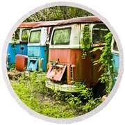 Vw Buses Round Beach Towel by Carolyn Marshall