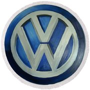 Vw Logo Blue Round Beach Towel