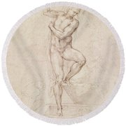 W53r The Risen Christ Study For The Fresco Of The Last Judgement In The Sistine Chapel Vatican Round Beach Towel