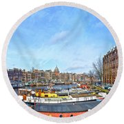 Round Beach Towel featuring the photograph Waalseilandgracht Amsterdam by Frans Blok