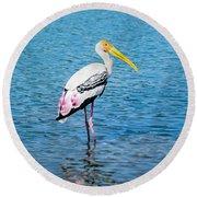 Wading Stork Round Beach Towel