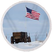 Round Beach Towel featuring the photograph Wagon And Flag by Michael Chatt