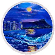 Waikiki Lights Round Beach Towel