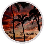 Waikiki Sunset Round Beach Towel