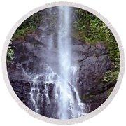 Wailua Falls Maui Hawaii Round Beach Towel by DJ Florek