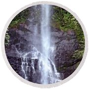 Wailua Falls Maui Hawaii Round Beach Towel