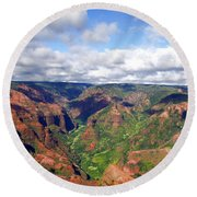 Round Beach Towel featuring the photograph Waimea Canyon by Amy McDaniel