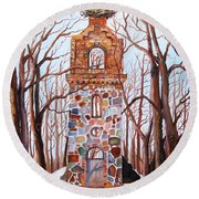 Waiting At Church Ruins  Round Beach Towel