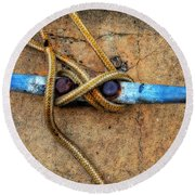 Waiting - Boat Tie Cleat By Sharon Cummings Round Beach Towel