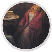 Round Beach Towel featuring the painting Waiting by Donna Tucker