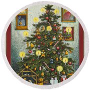 Waiting For Christmas Morning Round Beach Towel