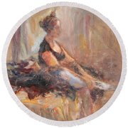 Waiting For Her Moment - Impressionist Oil Painting Round Beach Towel