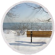 Waiting For Spring Round Beach Towel by Laurel Best