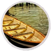 Round Beach Towel featuring the photograph Waiting For The Fisherman by Wallaroo Images