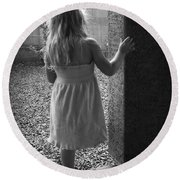 Round Beach Towel featuring the photograph Waiting For The Rain To End  by Lucinda Walter