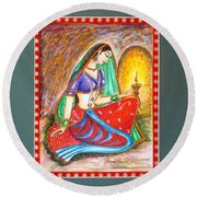 Round Beach Towel featuring the painting Waiting  by Harsh Malik