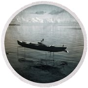 Round Beach Towel featuring the photograph Waiting In Blue by Lucinda Walter