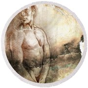 Round Beach Towel featuring the drawing Waiting With Mood Texture by Paul Davenport