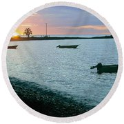 Waitukubuli Sunset Round Beach Towel