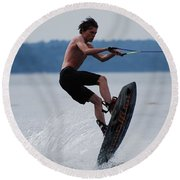 Wakeboarder Round Beach Towel by DejaVu Designs