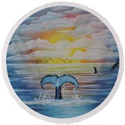 Round Beach Towel featuring the painting Wale Tales by Dianna Lewis