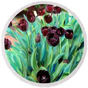 Walk Among The Tulips Round Beach Towel