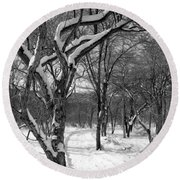 Walk In The Snow Round Beach Towel