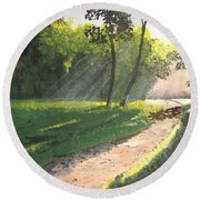 Walk Into The Light Round Beach Towel