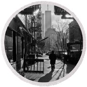 Walk Manhattan 1980s Round Beach Towel by Gary Eason