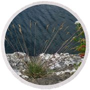 Round Beach Towel featuring the photograph Flowers In Rock by Brenda Brown