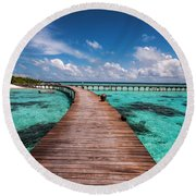 Walk Over The Water Round Beach Towel by Jenny Rainbow