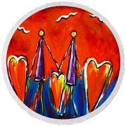 Round Beach Towel featuring the painting Walk With Me by Jackie Carpenter