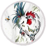 Round Beach Towel featuring the painting Walkabout by Bill Searle